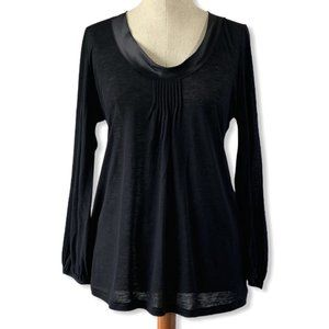 Jigsaw Silk trim round neck blouse
